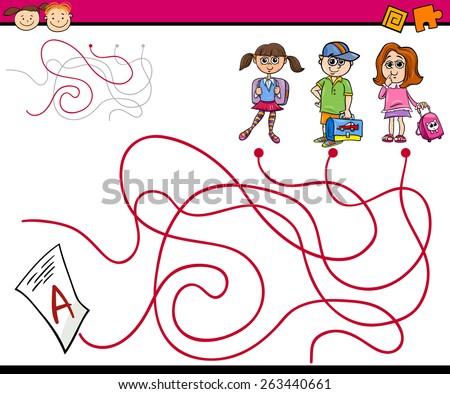 Cartoon Vector Illustration of Education Paths or Maze Game for Preschool Children - stock vector