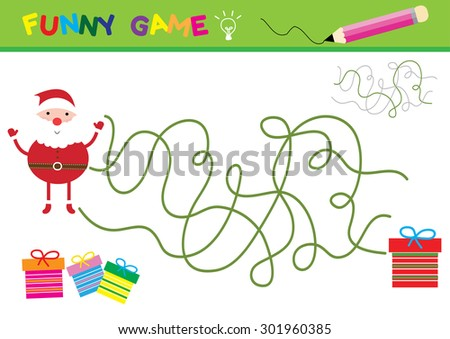 Cartoon Vector Illustration of Education Paths  or Maze Game for Preschool Children with Children and Present ,Santa Claus and gifts