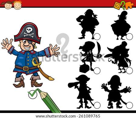 Cartoon Vector Illustration of Education Shadow Matching Game for Preschool Children - stock vector