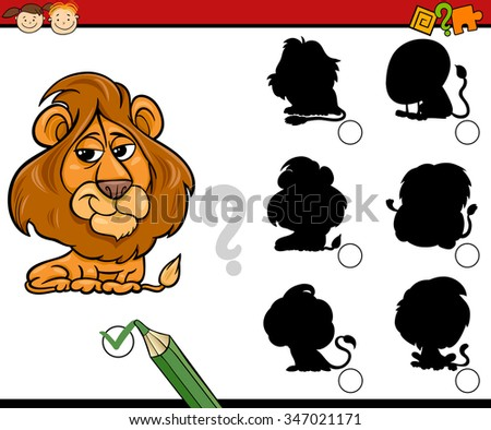 Cartoon Vector Illustration of Education Shadow Matching Task for Preschool Children with Lion Animal Character - stock vector