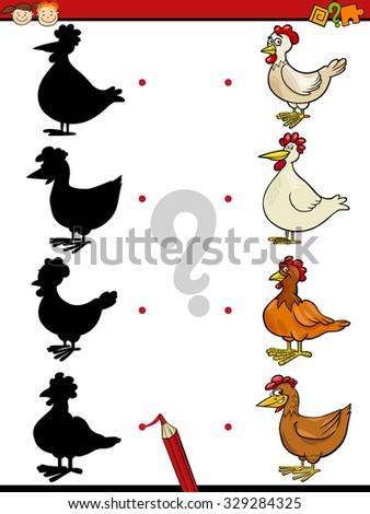 Cartoon Vector Illustration of Education Shadow Task for Preschool Children with Hens Farm Animal Characters - stock vector
