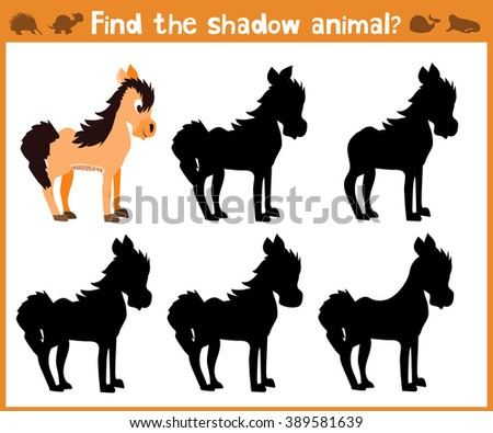Cartoon vector illustration of education will find appropriate shadow silhouette animal horse. Matching game for children of preschool age. Vector  - stock vector