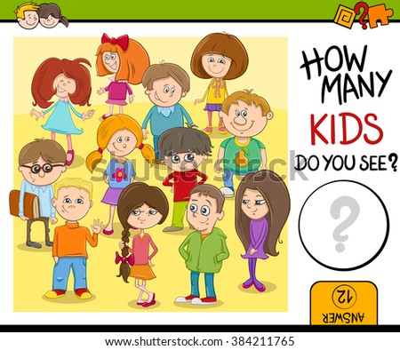 Cartoon Vector Illustration of Educational Counting or Calculating Task for Preschool Children with Kid Characters - stock vector