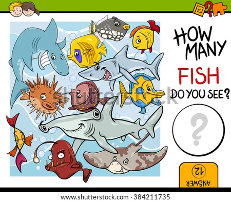 Cartoon Vector Illustration of Educational Counting Task for Preschool Children with Fish Animal Characters - stock vector