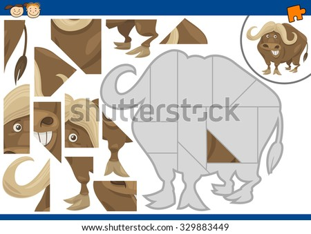 Cartoon Vector Illustration of Educational Jigsaw Puzzle Task for Preschool Children with African Buffalo Animal Character