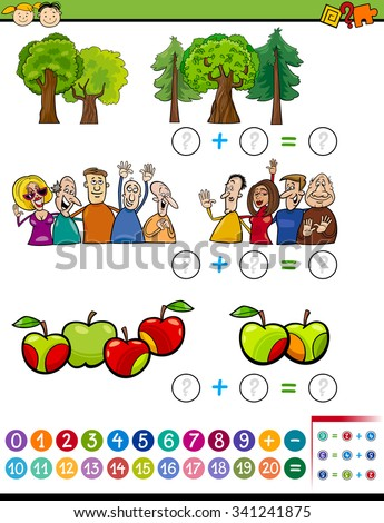Cartoon Vector Illustration of Educational Mathematical Addition Task for Preschoolers with Characters and Objects - stock vector