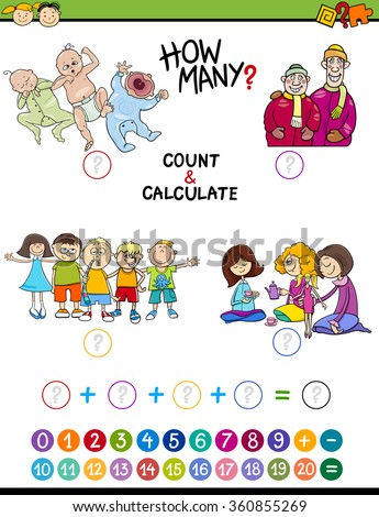 Cartoon Vector Illustration of Educational Mathematical Count and Addition Game for Preschool Children with People Characters - stock vector