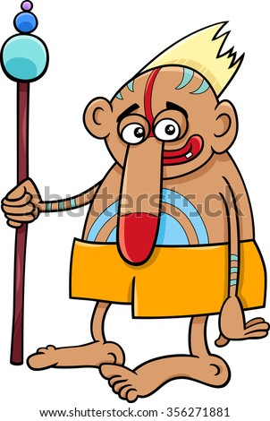 Cartoon Vector illustration of Fantasy or Tribal Wizard or Shaman - stock vector