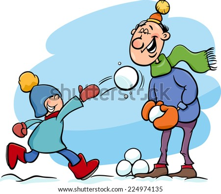Cartoon Vector Illustration of Father and Little Son Throwing Snowballs and Having Fun on Winter Time  - stock vector