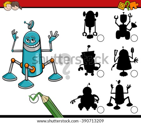 Cartoon Vector Illustration of Find the Shadow Educational Activity for Preschool Children with Robots - stock vector