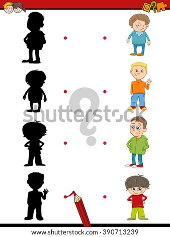 Cartoon Vector Illustration of Find the Shadow Educational Activity Game for Preschool Children with Kid Boys