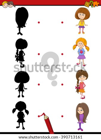 Cartoon Vector Illustration of Find the Shadow Educational Activity Task for Preschool Children with Kid Girls - stock vector