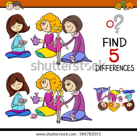 Cartoon Vector Illustration of Finding Differences Educational Activity for Preschool Children with Girls Playing House - stock vector