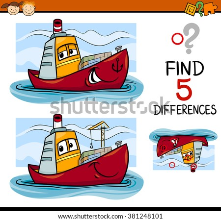 Cartoon Vector Illustration of Finding Differences Educational Task for Preschool Children with Container Ship Transport Character - stock vector