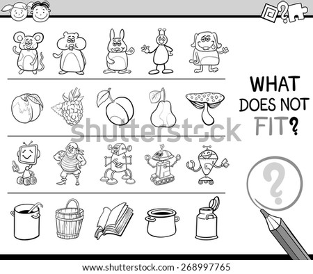 Cartoon Vector Illustration of Finding Improper Item Educational Game for Preschool Children