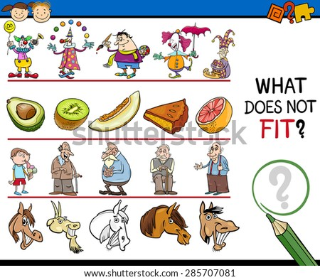 Cartoon Vector Illustration of Finding Improper Item Educational Game for Preschool Children - stock vector