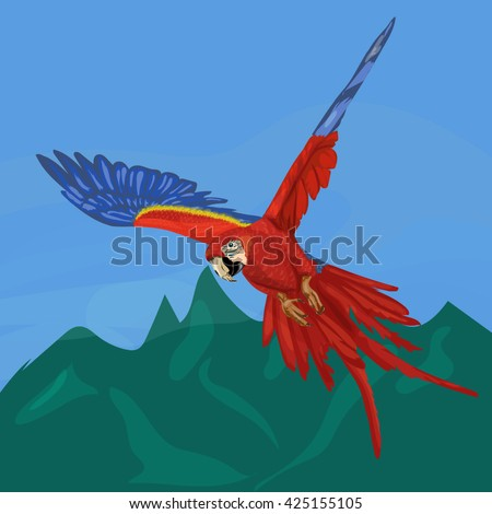 Cartoon vector illustration of flying red and blue parrot ara macaw  - stock vector