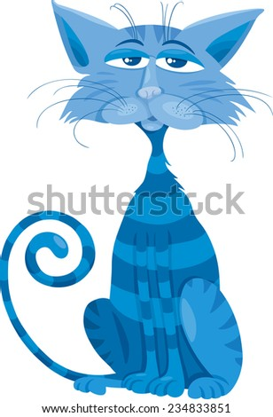 Cartoon Vector Illustration of Funny Blue Cat Character