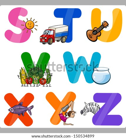 Cartoon Vector Illustration of Funny Capital Letters Alphabet with Objects for Language and Vocabulary Education for Children from S to Z - stock vector