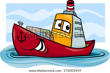 Cartoon Vector Illustration of Funny Container Ship Comic Mascot Character - stock vector