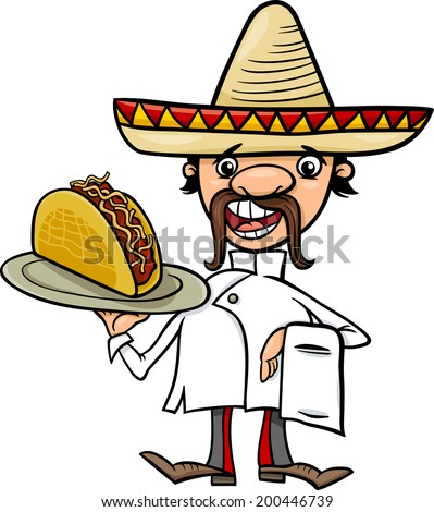 Cartoon Vector Illustration of Funny Mexican Chef or Waiter with Taco - stock vector