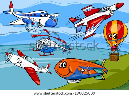 Cartoon Vector Illustration of Funny Planes and Aircraft Characters Group - stock vector