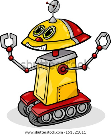 Cartoon Vector Illustration of Funny Robot or Droid