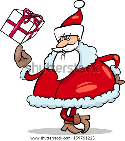 Cartoon Vector Illustration of Funny Santa Claus Character with Christmas Present - stock vector