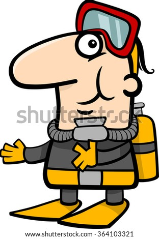 Cartoon Vector Illustration of Funny Scuba Diver in Diving Suit