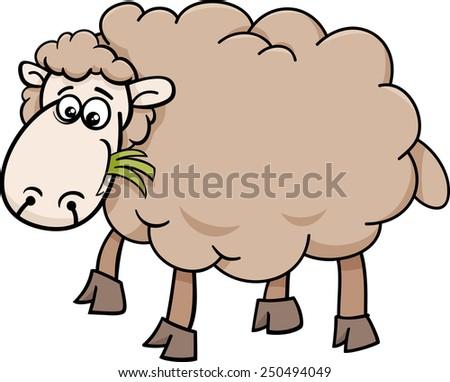 Cartoon Vector Illustration of Funny Sheep Farm Animal - stock vector