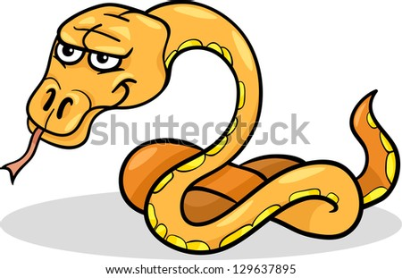 Cartoon Vector Illustration of Funny Snake Reptile Animal