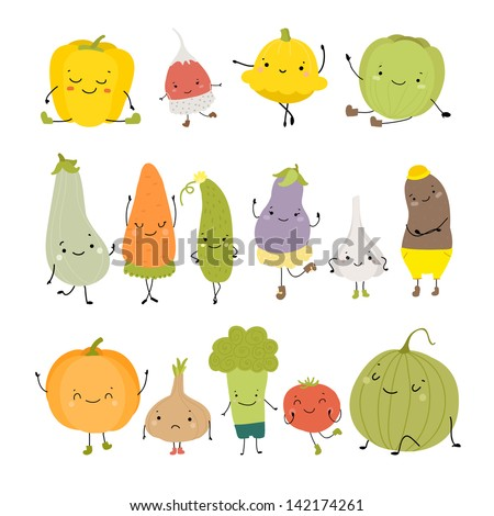 Cartoon Vector Illustration of Funny Vegetables Food - stock vector