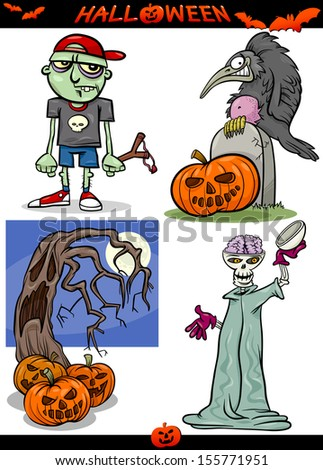 Cartoon Vector Illustration of Halloween Holiday Themes like Pumpkins or Zombie and Skeleton or Graves - stock vector