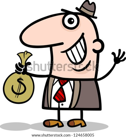 Cartoon Vector Illustration of Happy Man or Businessman with Bag of Money in Cash - stock vector