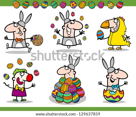 Cartoon Vector Illustration of Happy Men Easter Themes with Bunny, Chicken or Chick and Colored Eggs - stock vector