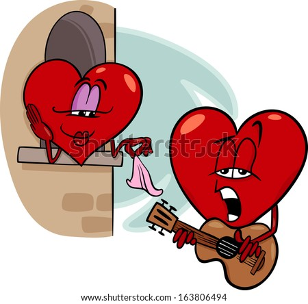 Cartoon Vector Illustration Of Heart Troubadour Character Singing Love Song  On Valentine Day