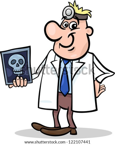 Cartoon Vector Illustration of Male Medical Doctor in White Coat with X-ray Picture of Human Skull - stock vector
