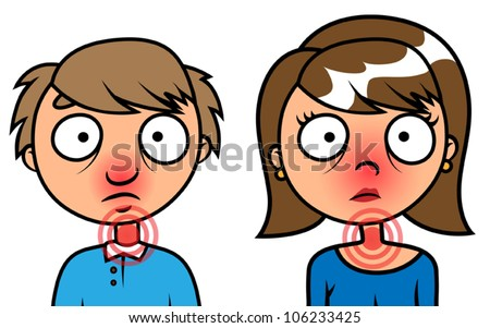 Cartoon vector illustration of man and woman cold or sick with flu - stock vector