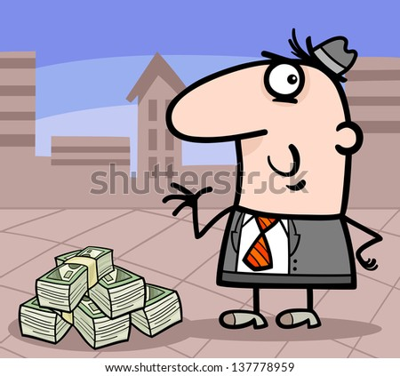 Cartoon Vector Illustration of Man or Businessman with Heap of Money in the City - stock vector