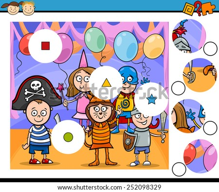 Cartoon Vector Illustration of Match the Pieces Educational Game for Preschool Children - stock vector