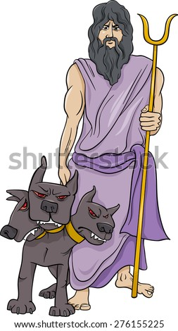 Cartoon Vector Illustration of Mythological Greek God Hades - stock vector