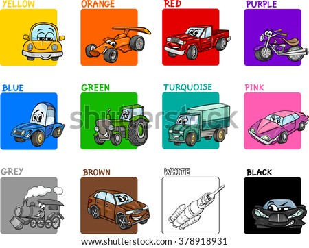 Cartoon Vector Illustration of Primary Colors with Transportation Vehicles Educational Set for Preschool Children