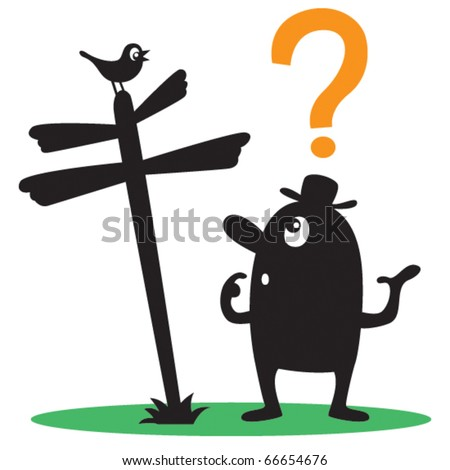 Cartoon vector illustration of puzzled man standing at crossroads looking at signpost and wondering which direction to take. - stock vector