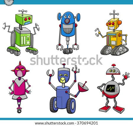 Cartoon Vector Illustration of Robots or Droids Fantasy Set - stock vector