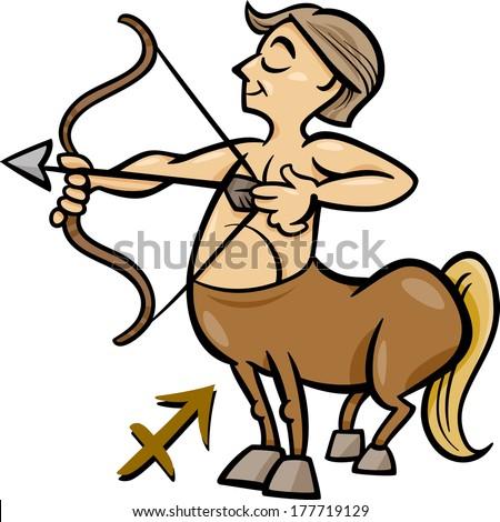 Cartoon Vector Illustration of Sagittarius or The Archer or Centaur Horoscope Zodiac Sign - stock vector