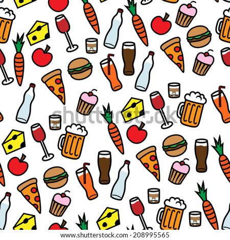 Cartoon vector illustration of seamless background pattern with food and drinks - stock vector