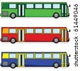 Cartoon vector illustration of three modern buses, in different colors - stock vector