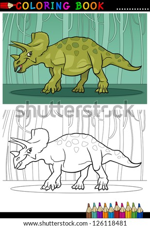 Cartoon Vector Illustration of Triceratops Dinosaur Reptile Species in Prehistoric World for Coloring Book and Education - stock vector