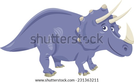 Cartoon Vector Illustration of Triceratops Prehistoric Dinosaur - stock vector