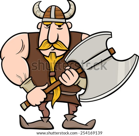 Cartoon Vector Illustration of Viking or Knight with Axe - stock vector